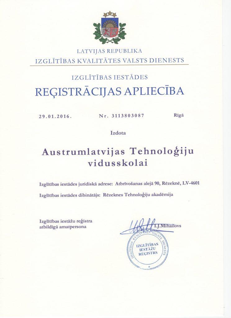Registrācijas Apliecība