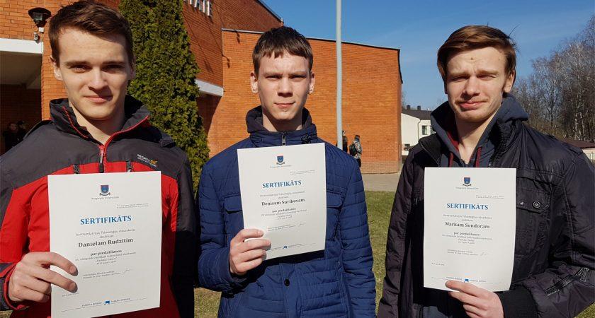 """ATV skolēni gūst panākumus Daugavpils Universitātes lietišķās informātikas olimpiādē """"Paskāla ritenis"""""""
